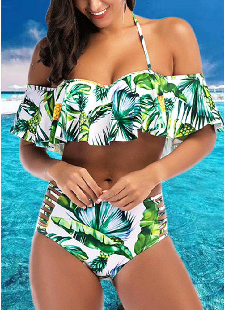Pineapple Print Ruffle Swimsuit Cutout Push Up Bikini Set