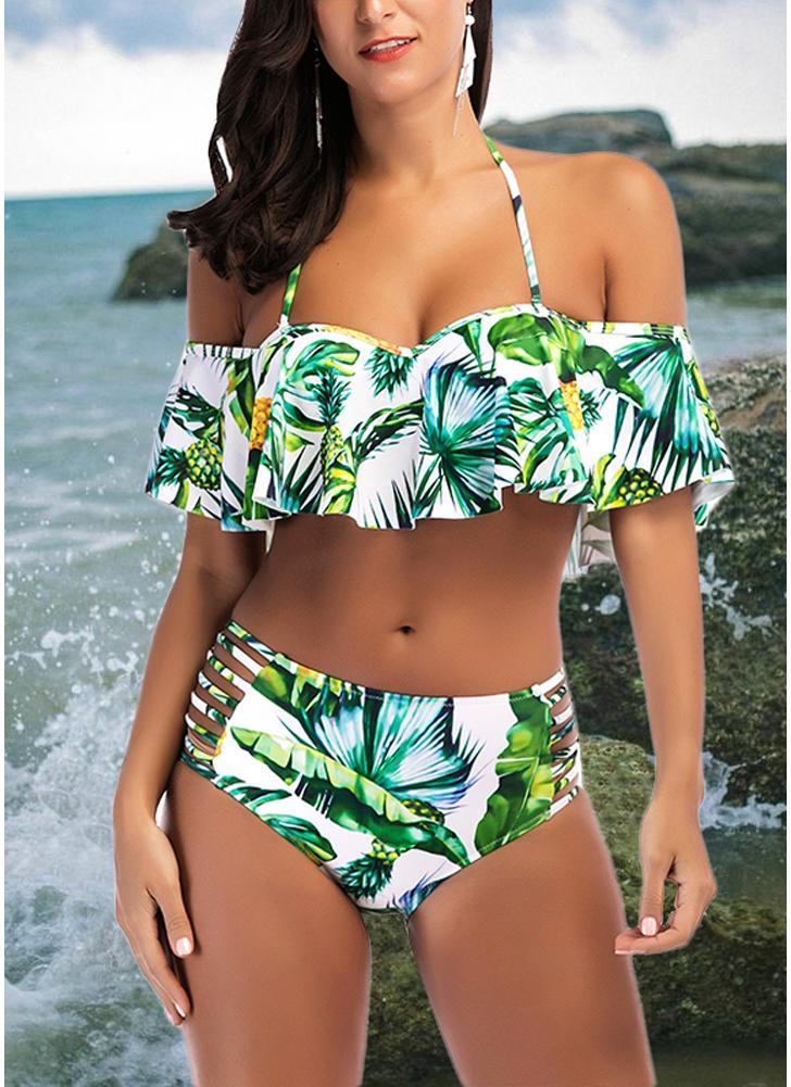 Bikini push up con estampado de piña y push up