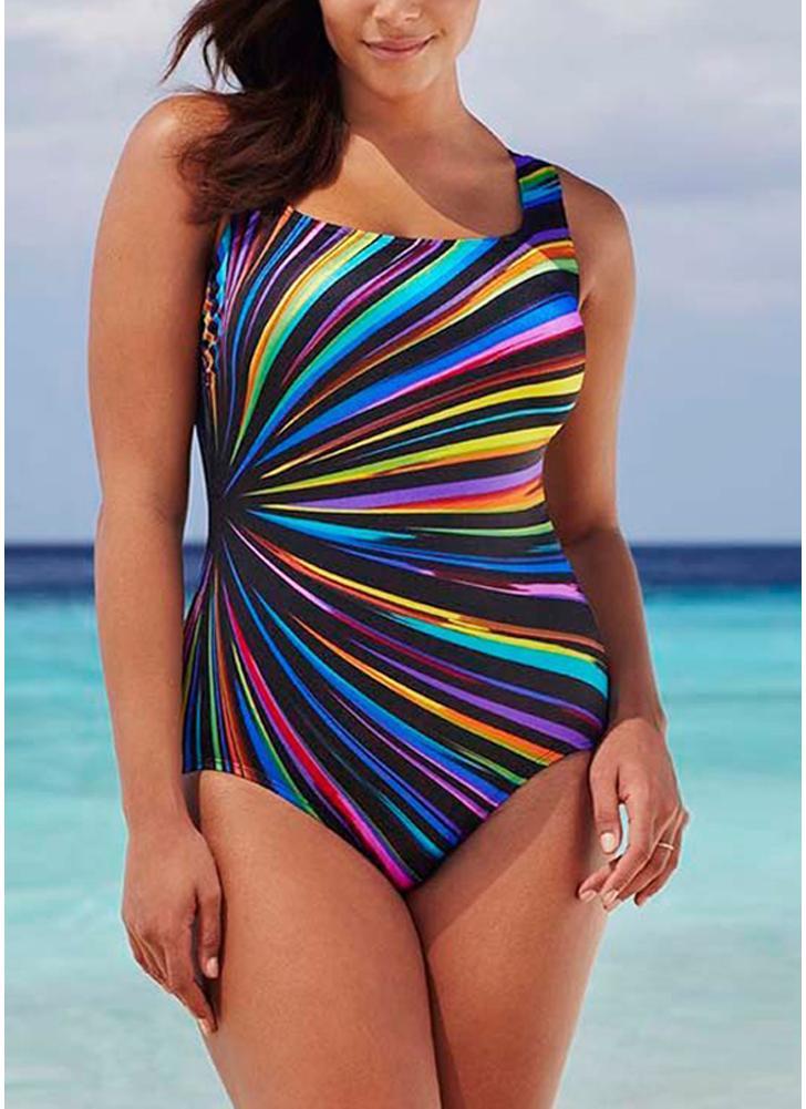2768642c8 Mulheres de tamanho grande de uma peça de banho de contraste contrastante  de cor listras roupa
