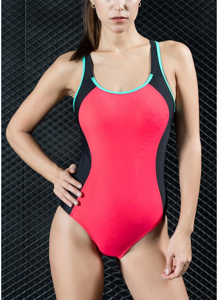Women One Piece Swimsuit Panel Splicing Racing Sports Swimwear Racer Back Monokini