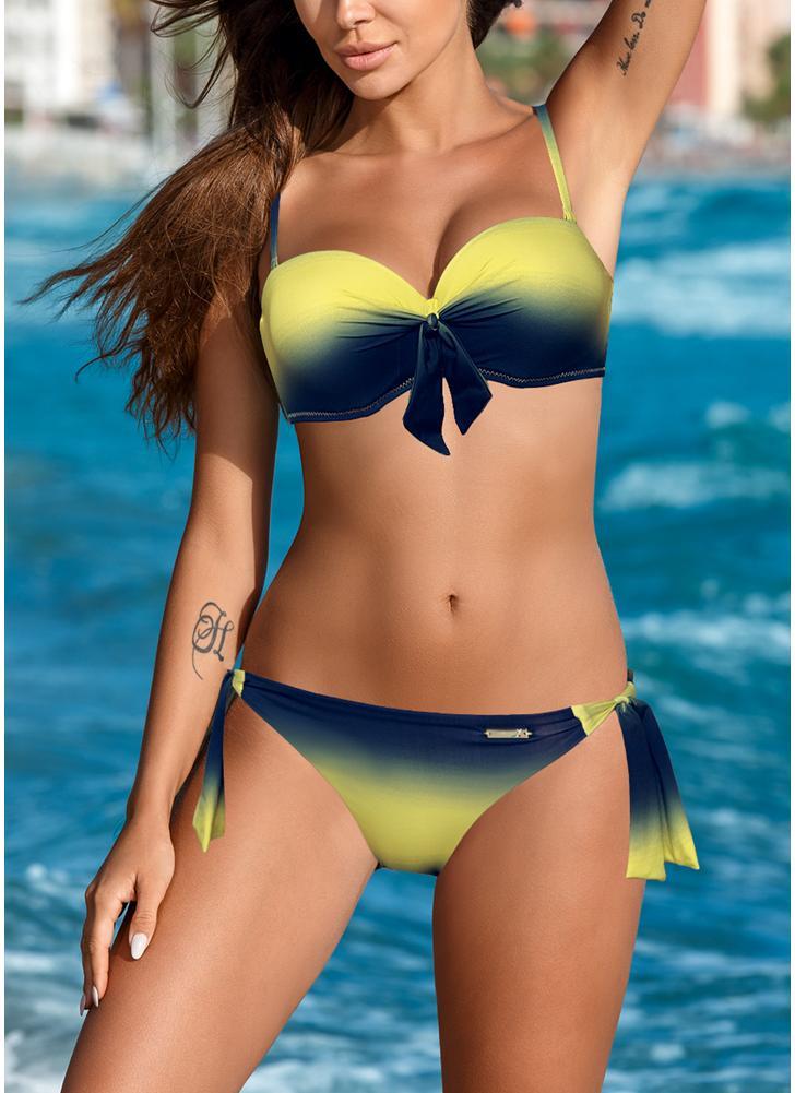 912a354fcf Femmes Ombre Bikini Set Autofixant Taille Arc Rembourré Deux Pièces Maillot  de Bain Maillots de Bain