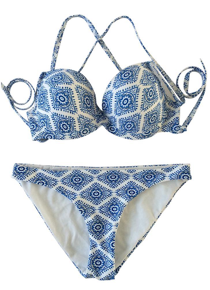 Conjunto de Biquíni Mulheres Padrão Geométrico Impressão Bandagem Cruzada Sobre Almofada Aqueça-se Swimsuit