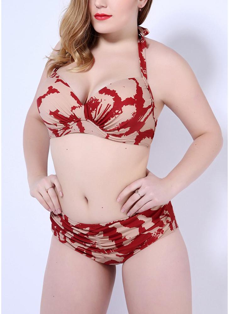 Conjunto de bikini estampado Push Up Halter Back Tie Midless cintura sin respaldo