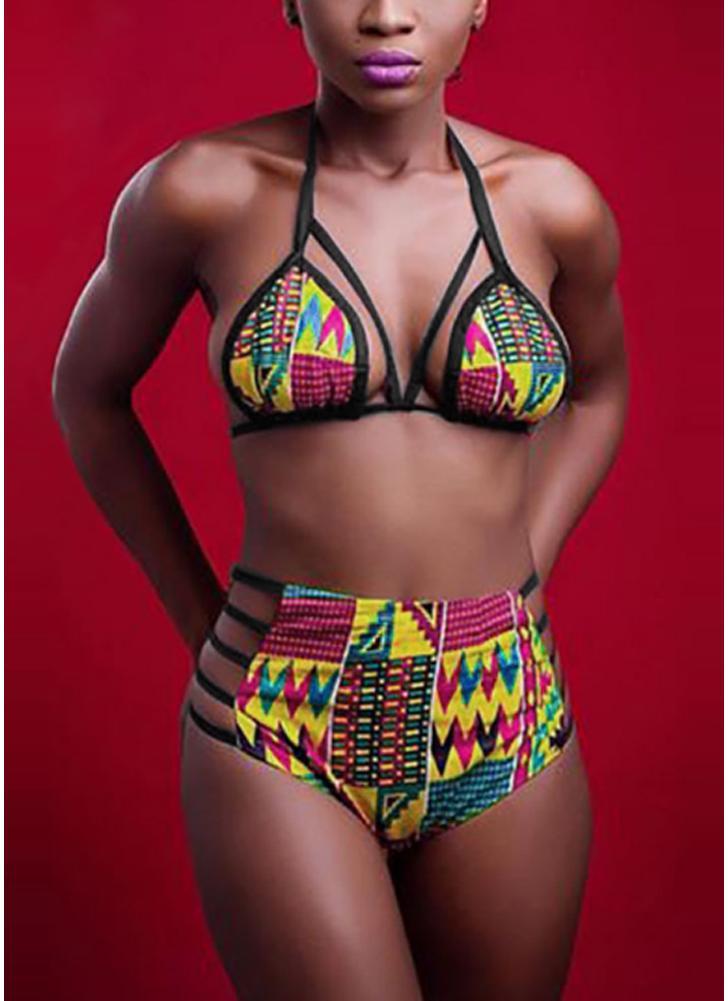 Conjunto de biquíni feminino Swimwear de roupa de banho impresso Complexo de banho de duas peças acolchoado Beachwear