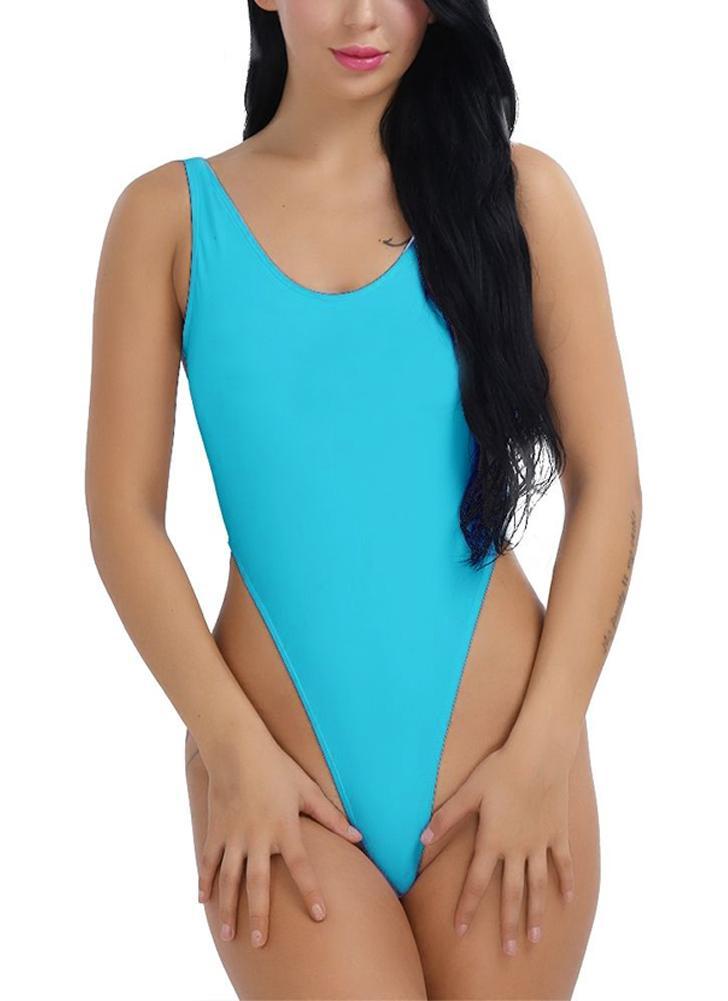 Damen One-Piece Push Up Bikini Bademode Monokini High Cut Rückenfreie Bodysuit