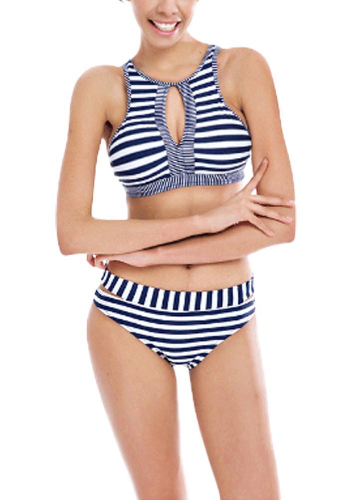 Bikini imbottito con laccetti sul retro a righe