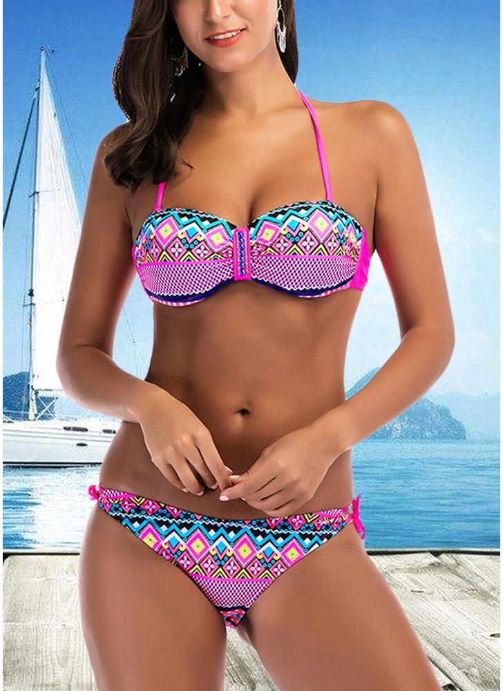Halter Geometric Print Bandage Underwire Push Up Bikini Set