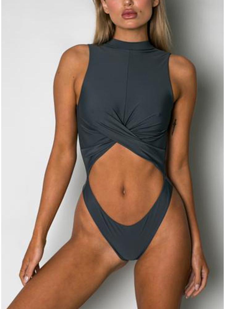 Costume da bagno intero da donna, costume da bagno monokini con collo alto e monokini