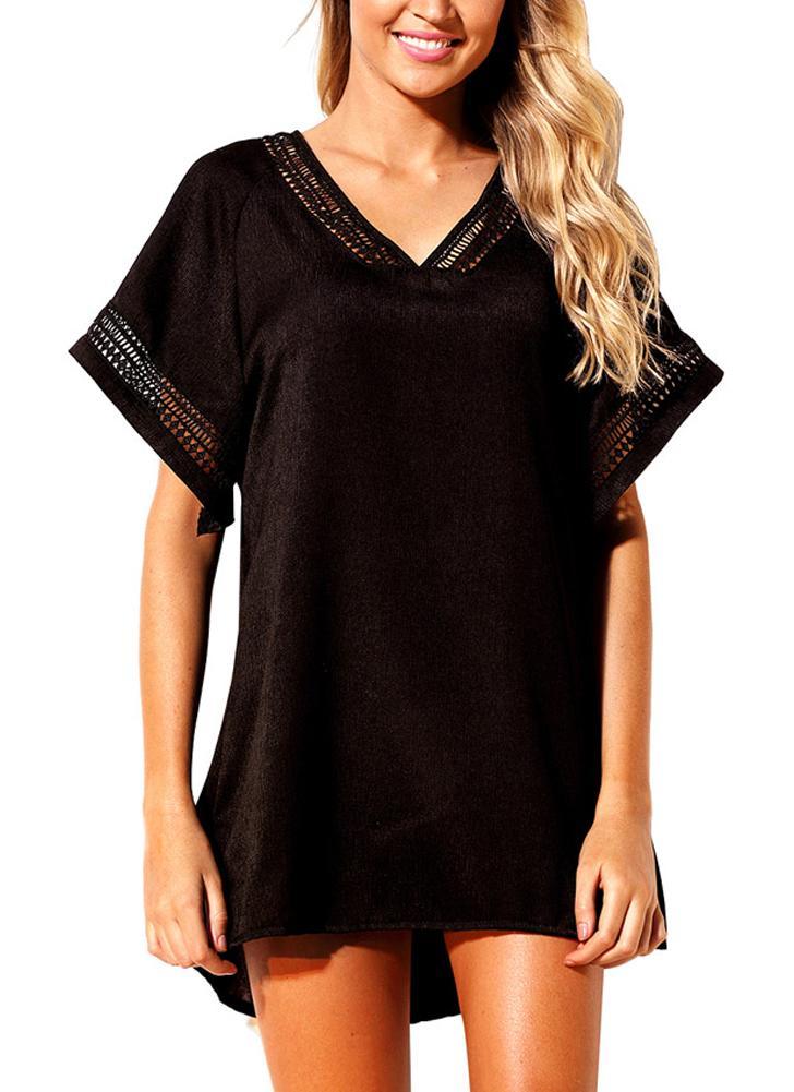 Schwarz s frauen h keln v ausschnitt vertuschen strand sommerkleid unregelm ig l ssig bademode - Sommerkleid v ausschnitt ...