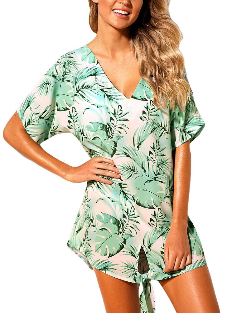 Abiti da spiaggia da donna Cover Ups Piante Stampa Tie Knot Mini Bikini Beachwear