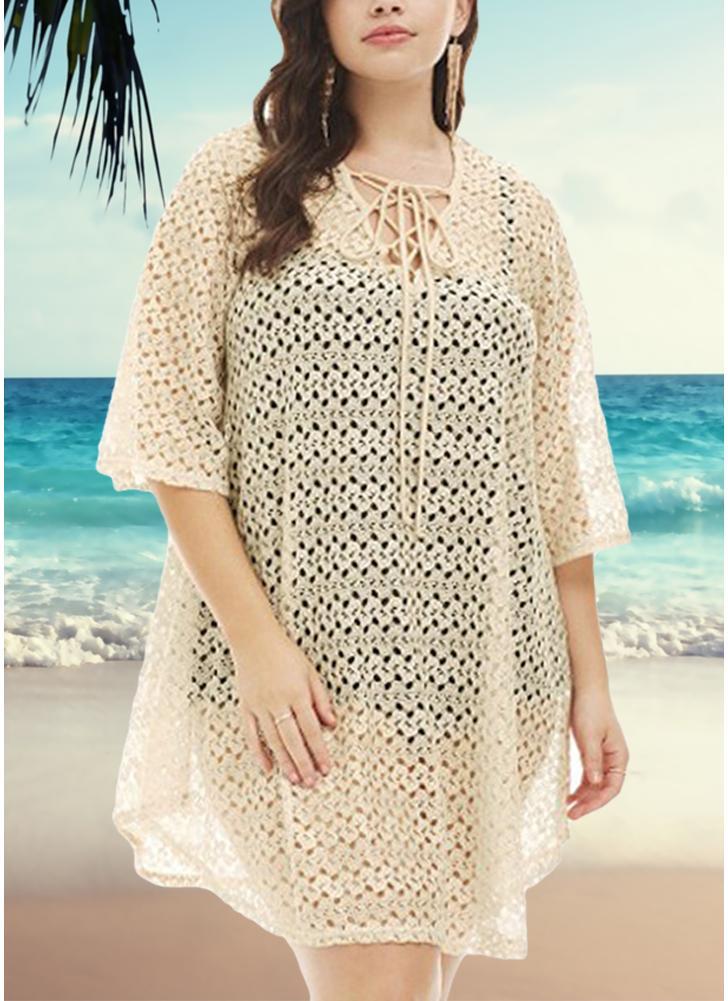 Women Plus Size Beach Cover Up Crochet Lace Hollow Bandage Bikini Swimsuit f1c3234e5f6d