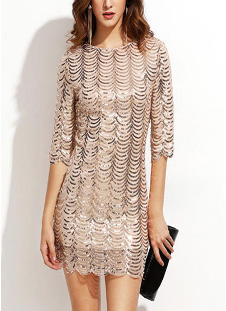 Women Sequin Dress O Neck Half Sleeve Scallop Party Club Mini