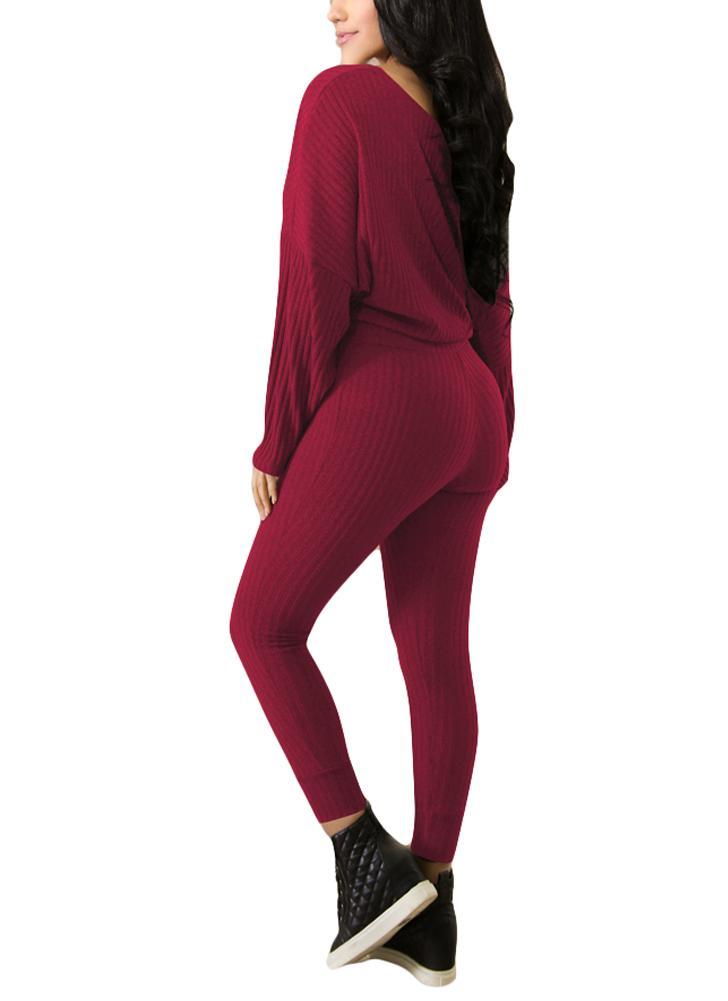 73fe3527f1 Femmes côtelé une épaule Crop Top Drawstring taille pantalons Survêtement