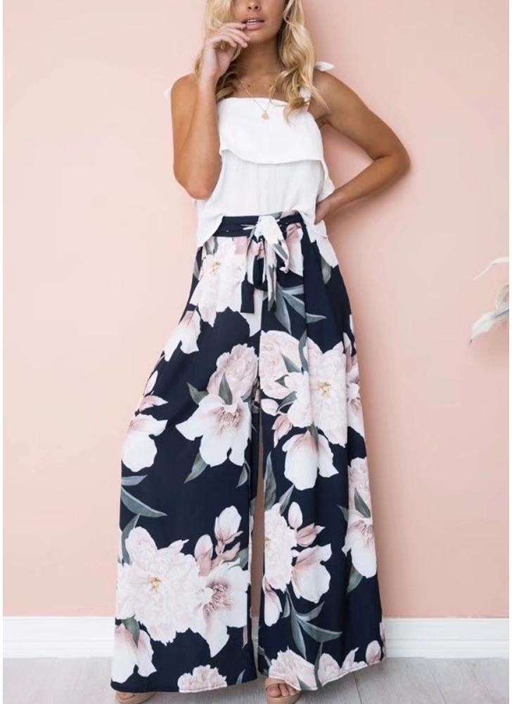 Pantalon large à jambe large et imprimé floral