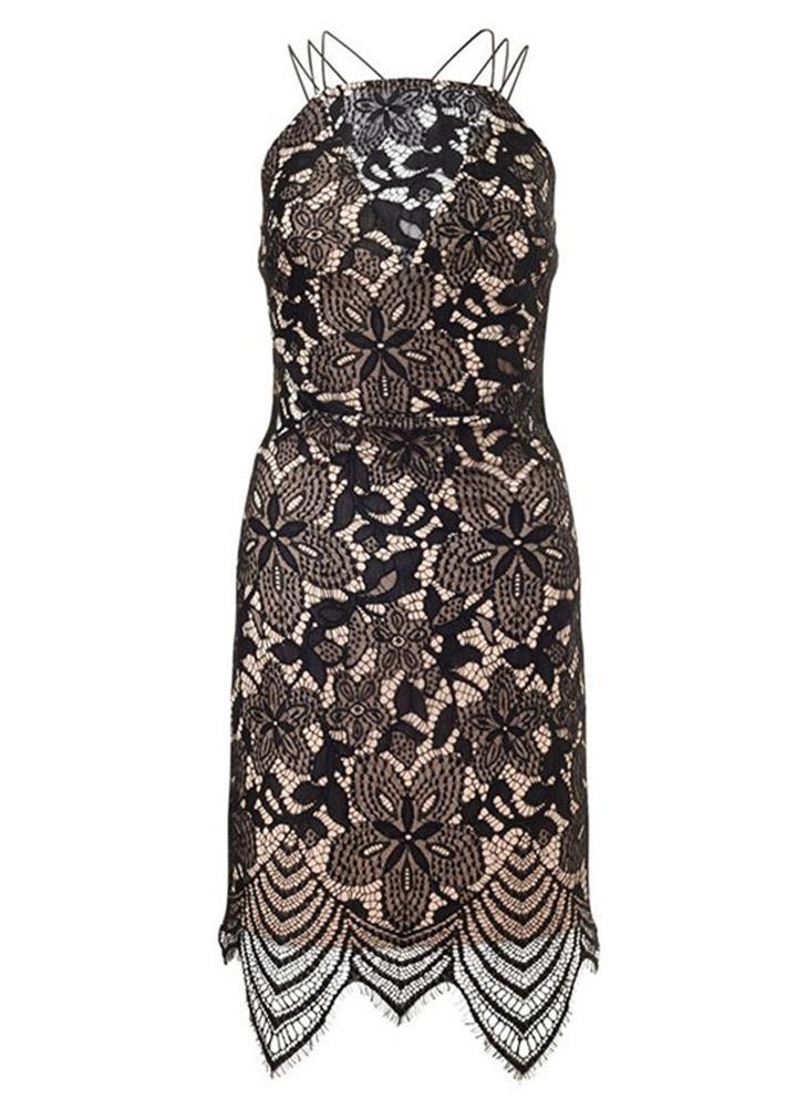 Sexy Lace Spaghetti Strap Backless Sleeveless Bodycon Black Dress