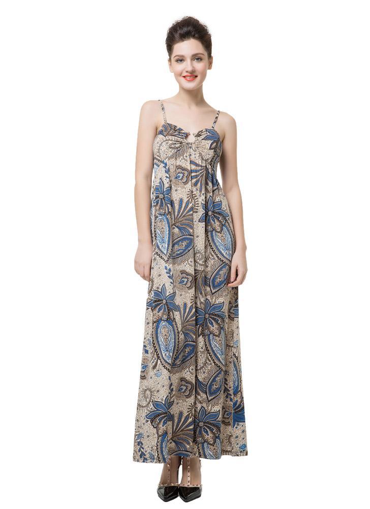 Femmes Élégance Floral Imprimer V Cou Rembourrage léger Spaghetti Strap Maxi Dress