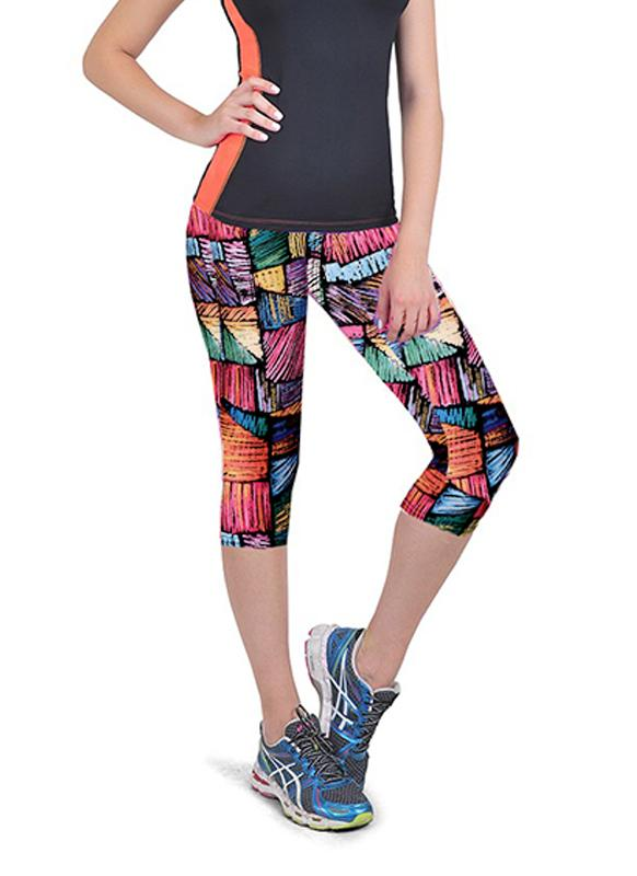 Neue Fashion Women Capri Leggings hohe Taille Floral Drucken abgeschnitten Yoga Hose Fitness Workout lässig Hose