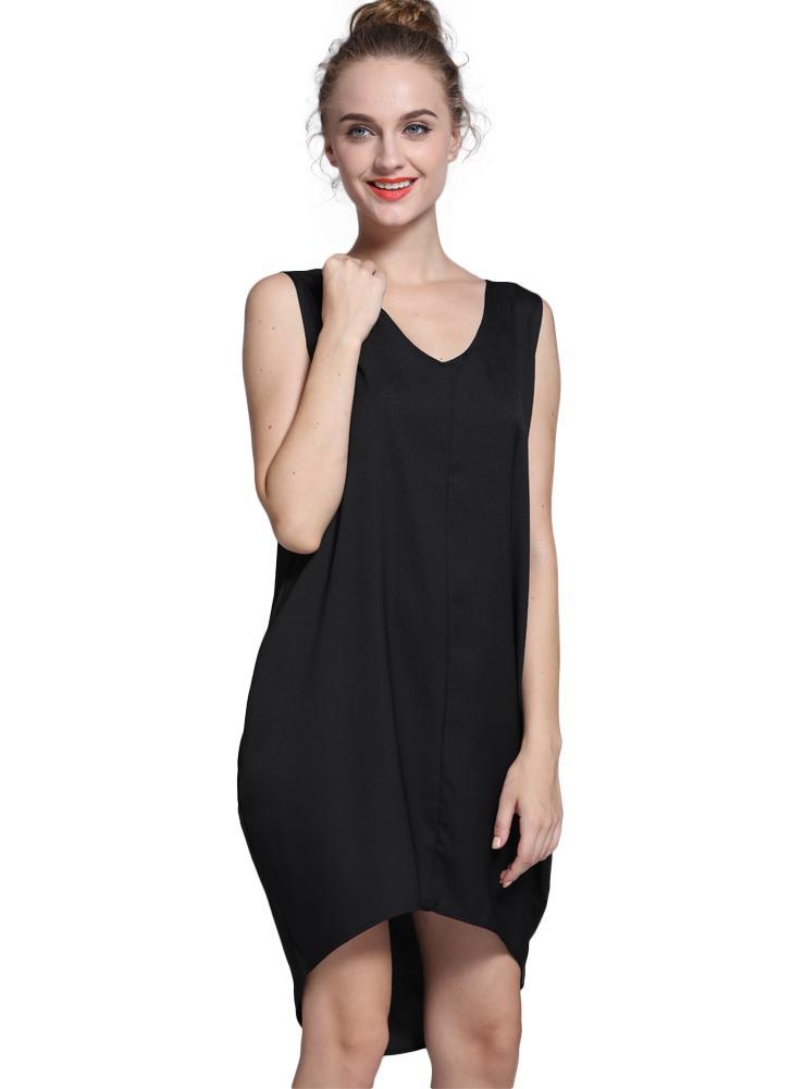 Neue Mode-Frauen-Behälter-Minikleid V Hals hoch niedrig Saum locker lässig  asymmetrischen