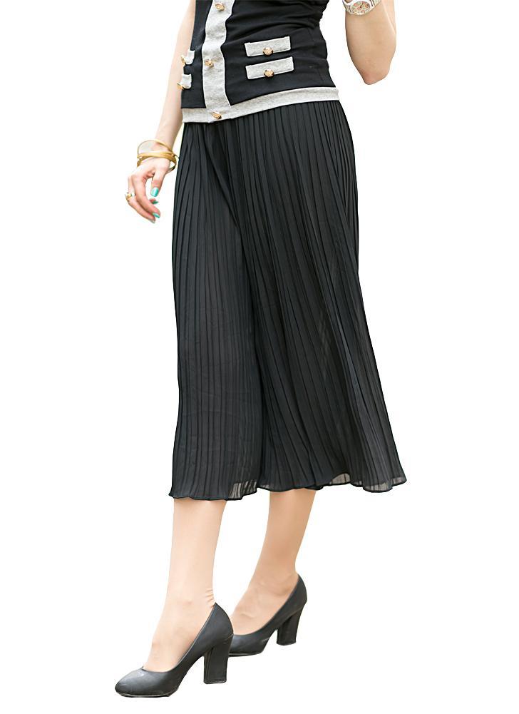 Las nuevas mujeres de la manera pierna ancha pantalones plisados gasa elástica de cintura suelta Capris llamarada pantalones cosechados Culottes Negro