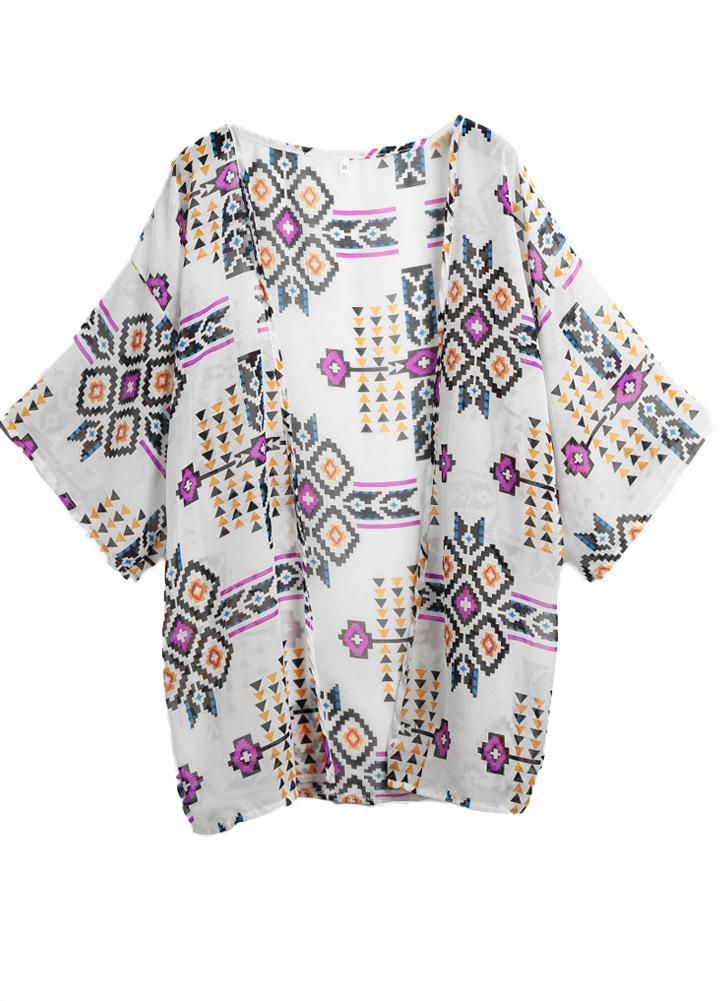 Le donne in chiffon di moda Cover Up Geometria Stampato Beach Kimono  causale allentato camicetta Bikini 58ebcebbaf5