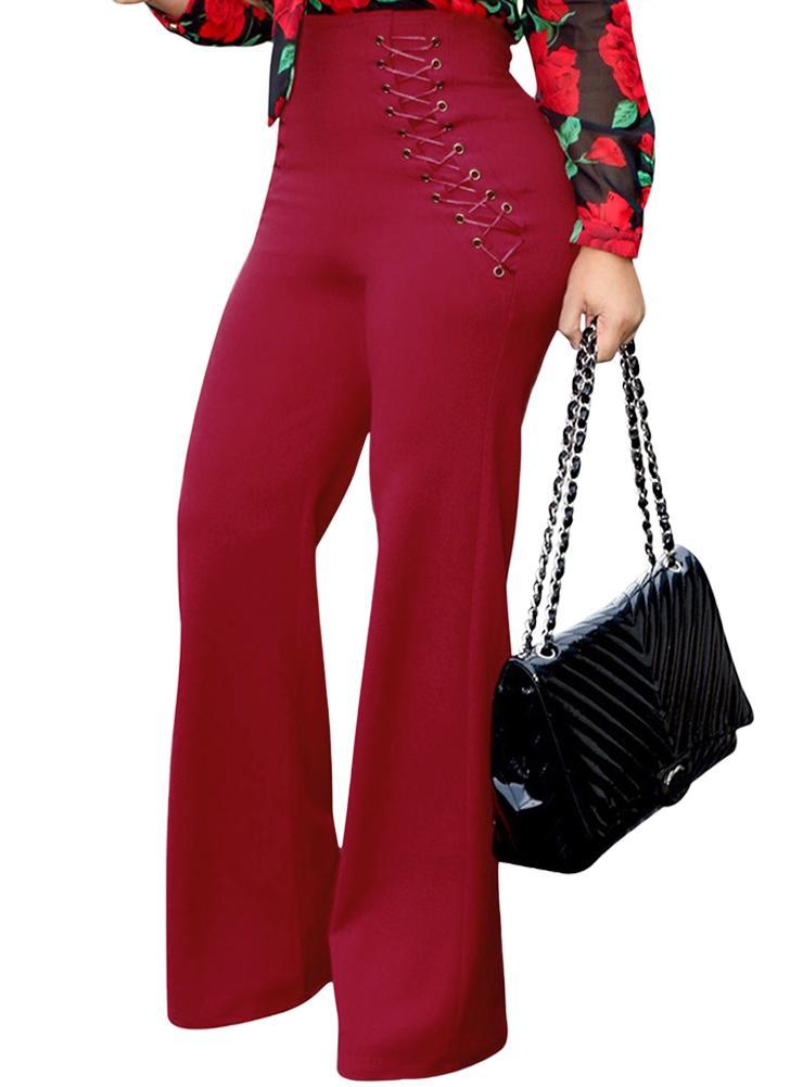 Pantalones anchos de cintura alta Pantalones acampanados bajos de campana de cintura alta