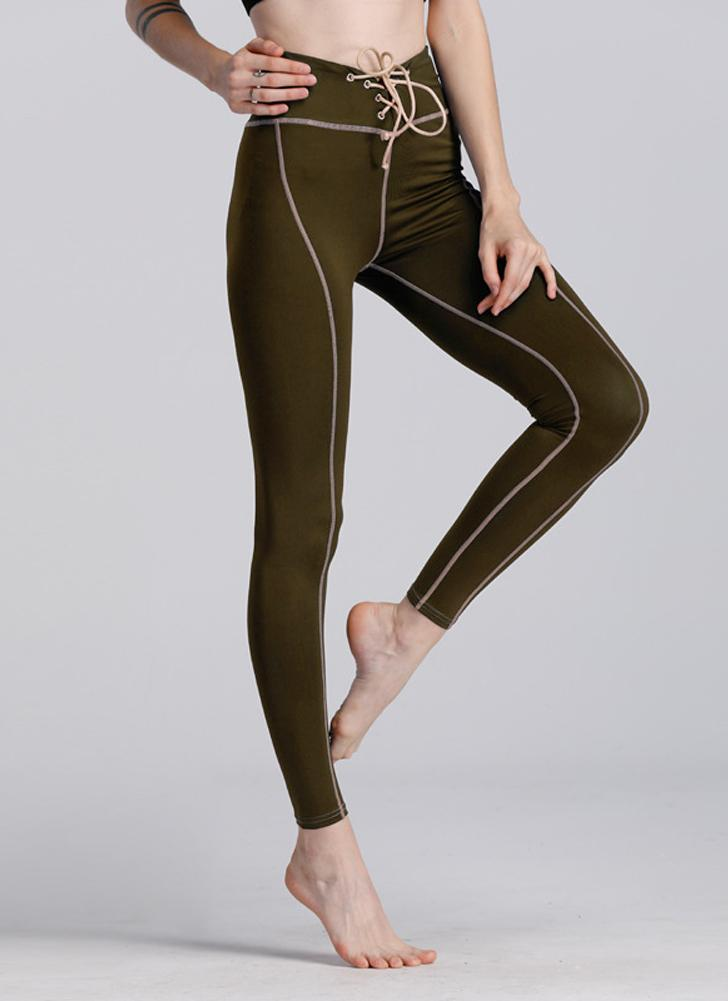 Женщины Йога Спорт Брюки Леггинсы Высокая талия Бегущие колготки Фитнес Тренировка Кожаные брюки