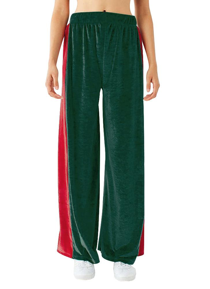Pantalones de pierna ancha de cintura alta elásticos de terciopelo elástico de las mujeres de la moda