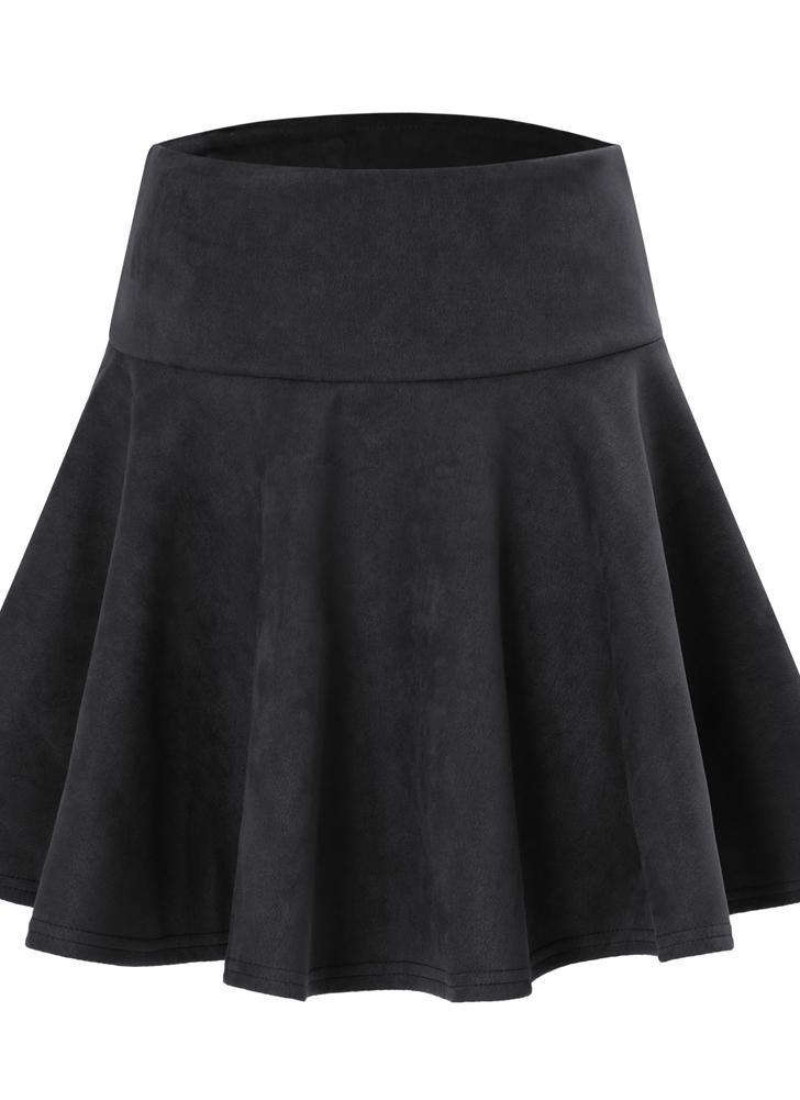 Mode Frauen Einfarbig Hohe Taille A-Line Kurze Mini Falten Skater Rock