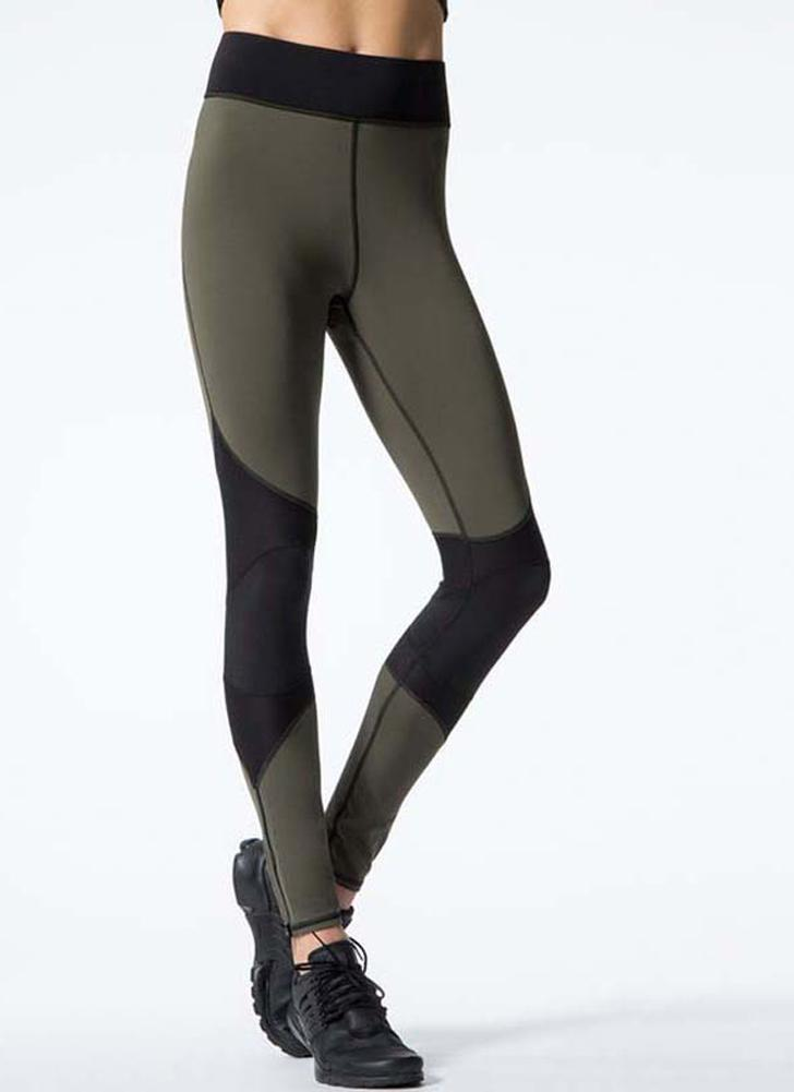 Mujeres atractivas contraste Splice Sports Leggings Yoga Running Skinny Slim Tights