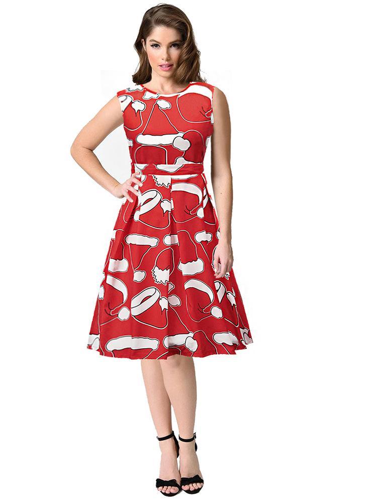 Frauen Weihnachten Weihnachtsmann bedrucktes ärmelloses Kleid b36b49b72b