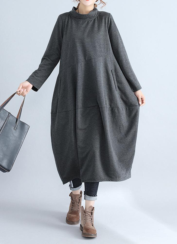 Les femmes de grande taille robe droite stand col solide robe lâche de bureau