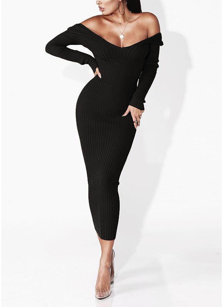 Vestido negro escote v manga larga