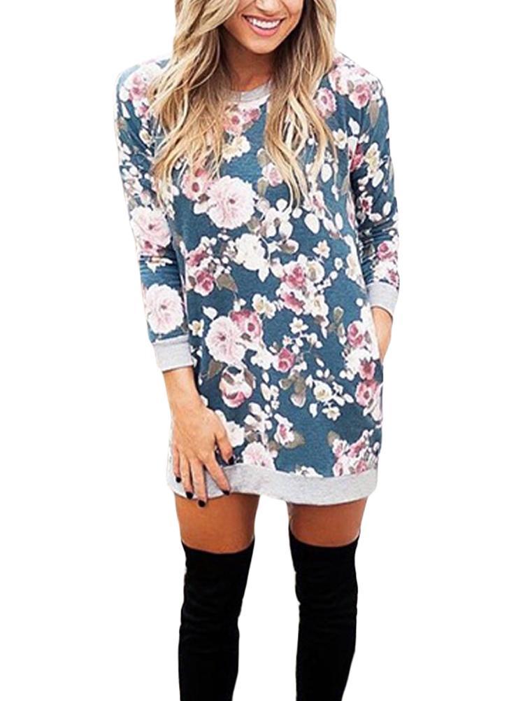 b73cb3de252a9 Mini abito da donna con maniche lunghe vintage stampa floreale o-collo manica  lunga vintage