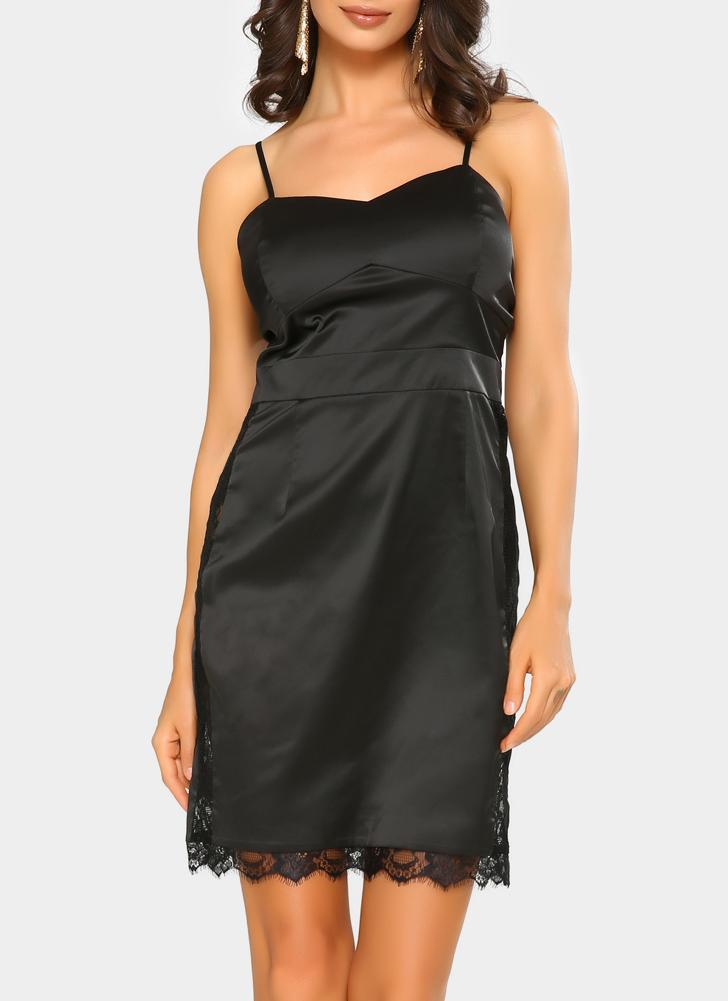 Sexy Women Slip Lace Hollow Out Cetim Spaghetti Strap Slim Bodycon Mini Dress