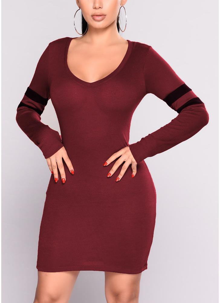 Women Sexy Knitted Contrast Stripes V Neck Long Sleeve Slim Mini Bandage One-Piece Pencil Dress