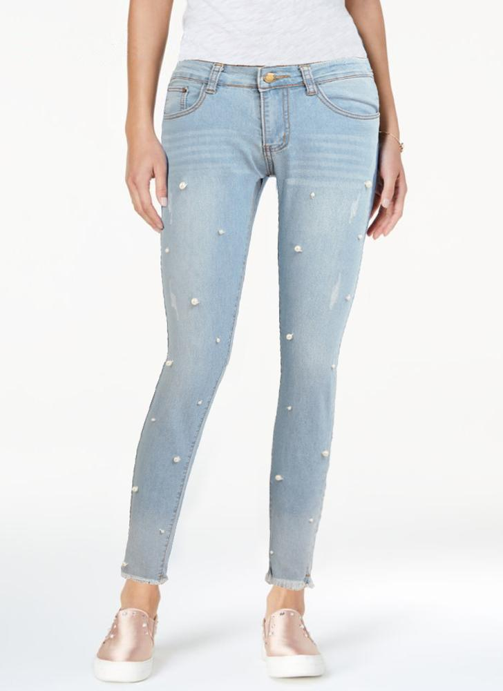 Boho mujeres lavado denim rebordear borla de la perla de imitación deshilachado cremallera mediados de cintura flaco casual lápiz jeans