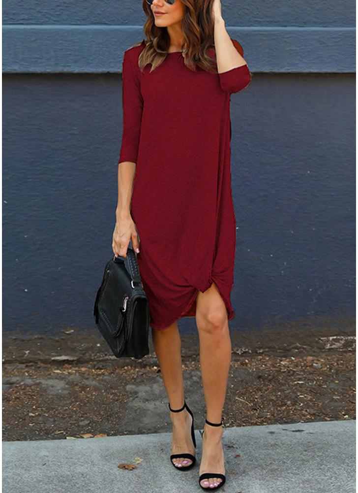 Women 3/4 Sleeves Casual Dress Ruched Hem O Neck Soft Asymmetrical Shift T-shirt Dress