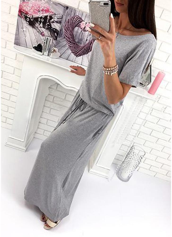 Women Maxi Long O-Neck Short Sleeves Belt Elastic Waist Casual Dress