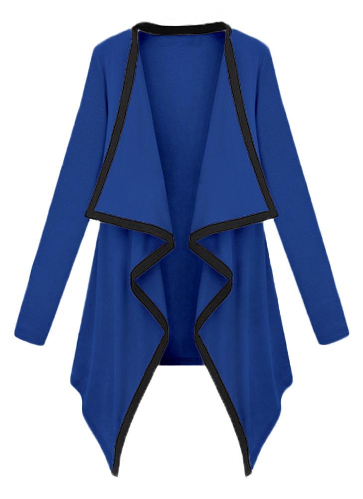 Femmes à manches longues contraste Cardigan ouvert avant asymétrique cape décontracté Poncho manteau