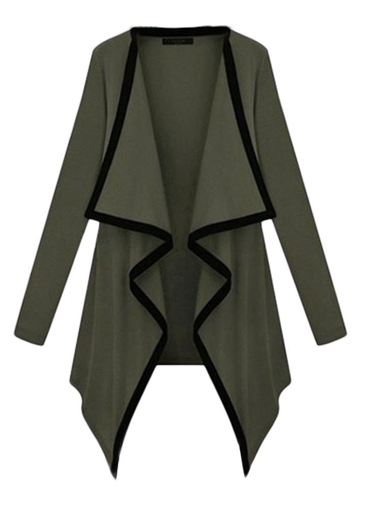 Mulheres Casaco de manga comprida Cardigão Frente aberto Capa assimétrica Casaco casual Poncho