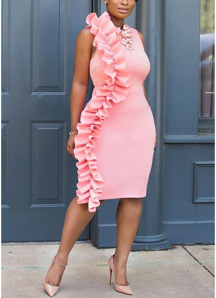 l rosado Vestido sin mangas de las mujeres del vestido del lápiz de ...