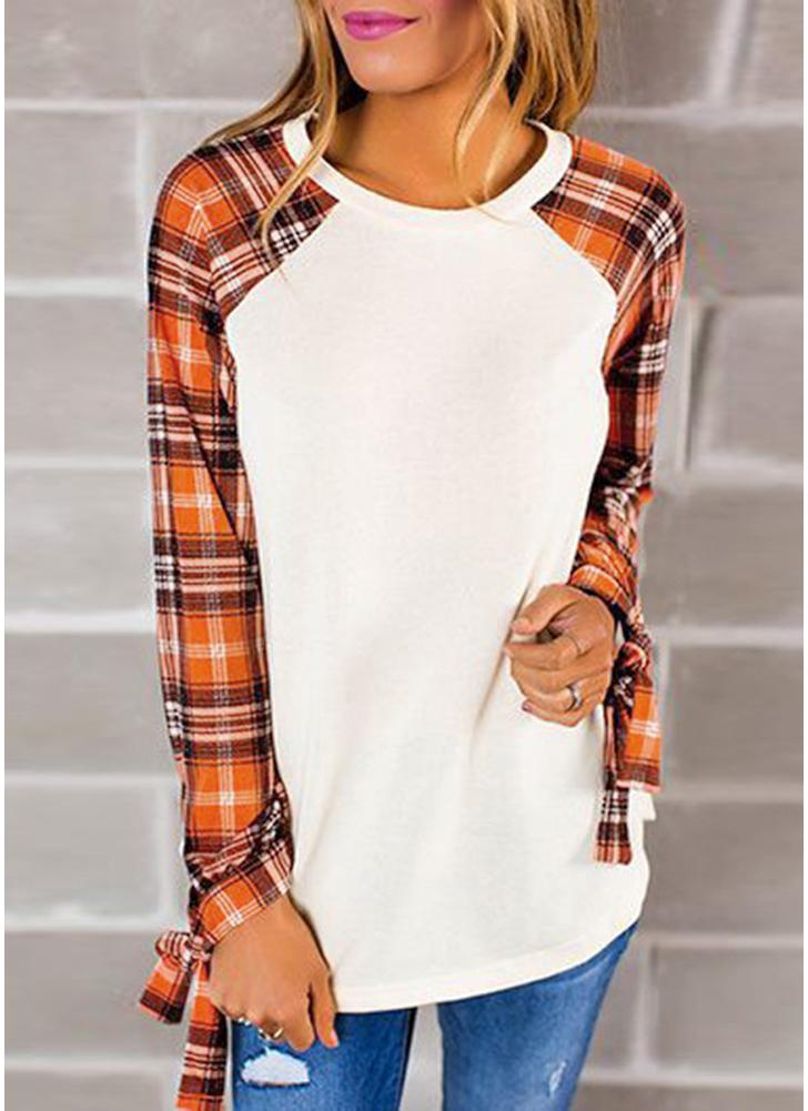 Korean Fashion Women T-shirt Plaid Sleeves Round Neck Bowknot Pullover Tops