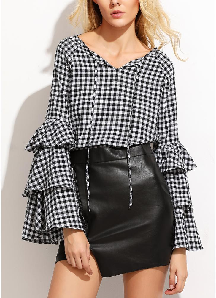 Frauen Plaid Bluse Top Rüschen mit langen Ärmeln V-Ausschnitt elegante Casual Shirt