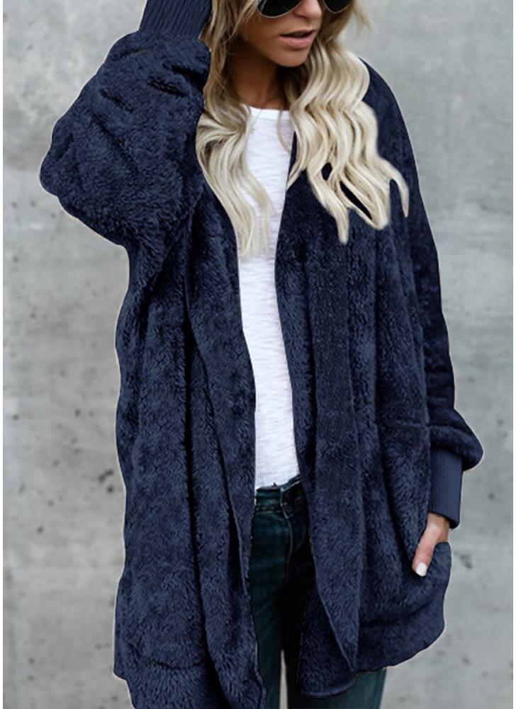 Chaqueta larga con capucha de las mujeres Chaqueta con capucha Rebeca de  piel sintética Forro polar a24bcf4e3ca8