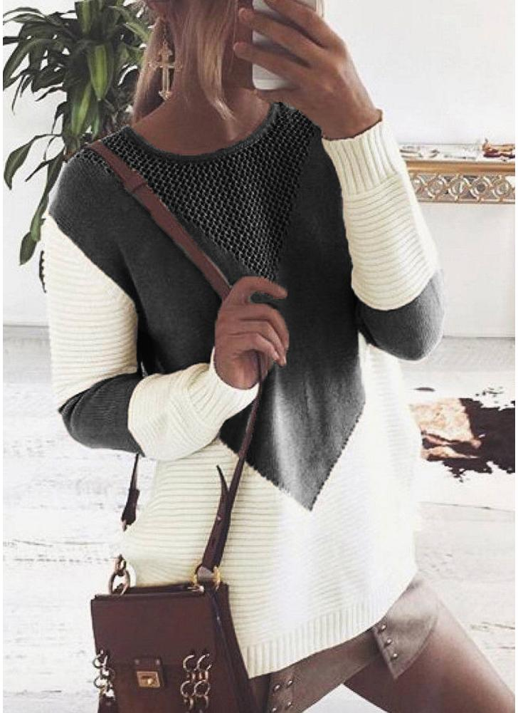 Contrast Color Round Neck Hollow Out Women Casual Knitted Sweater