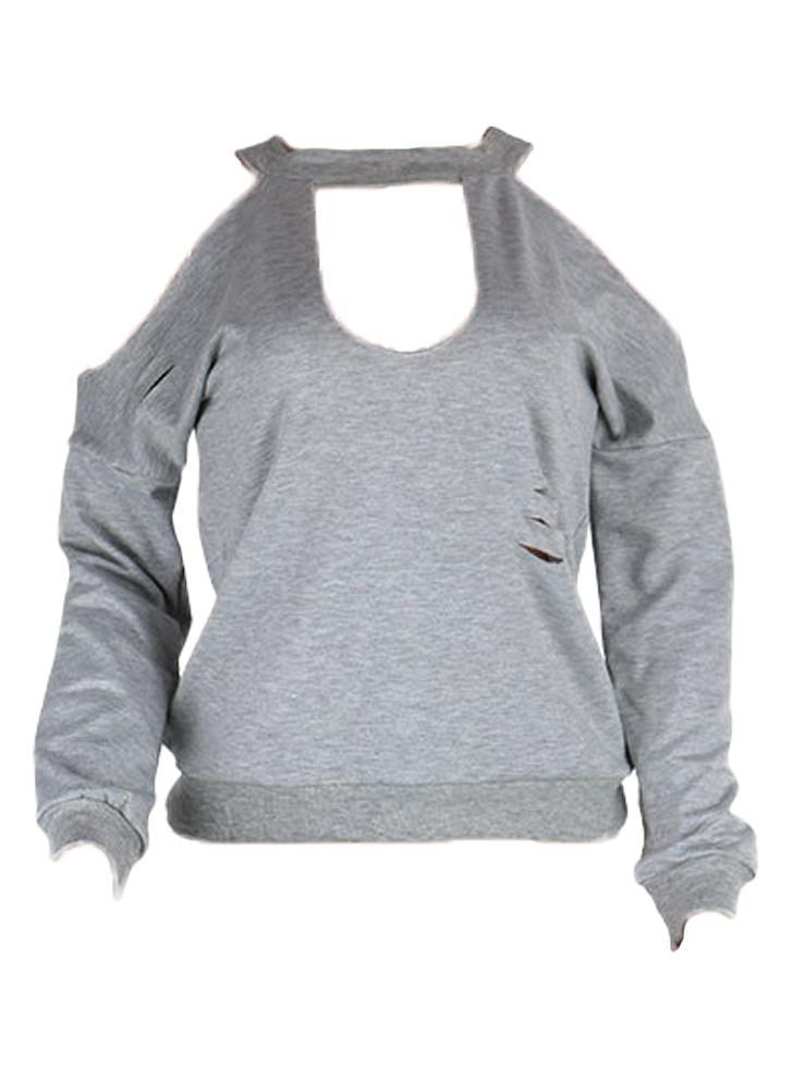 Pullover mit Löchern grau M