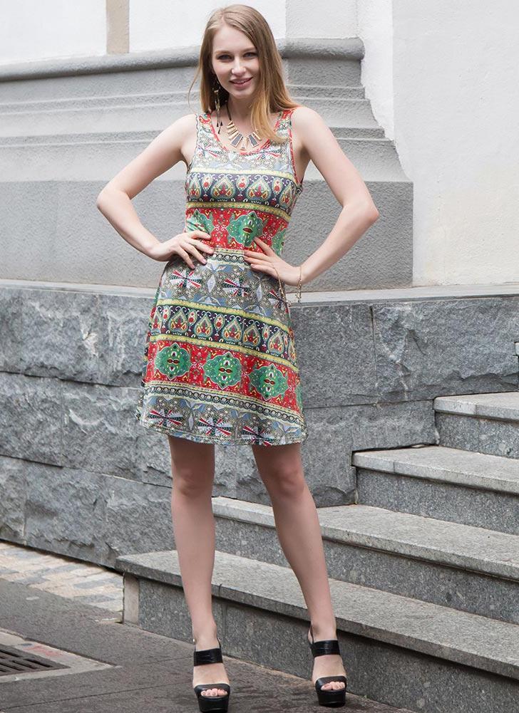 Vestito casuale dal O-Collo di stampa geometrica delle Bohemian senza maniche  delle donne vintage d0f62595e42