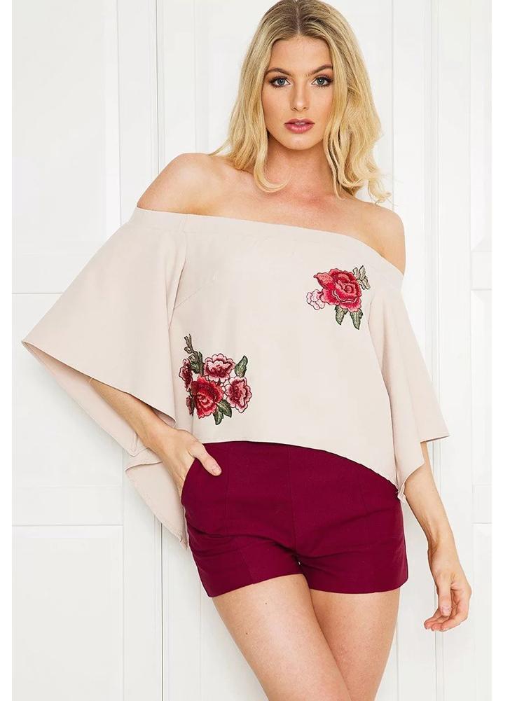 T-shirt Alças New Verão bordado floral alargamento da luva Hem Irregular Casual solta Top Bege