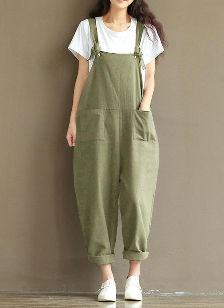 Mulheres Loose Jumpsuit Overalls Bolsos sem mangas sólidos Pernas largas Dungarees Playsuit Rompers