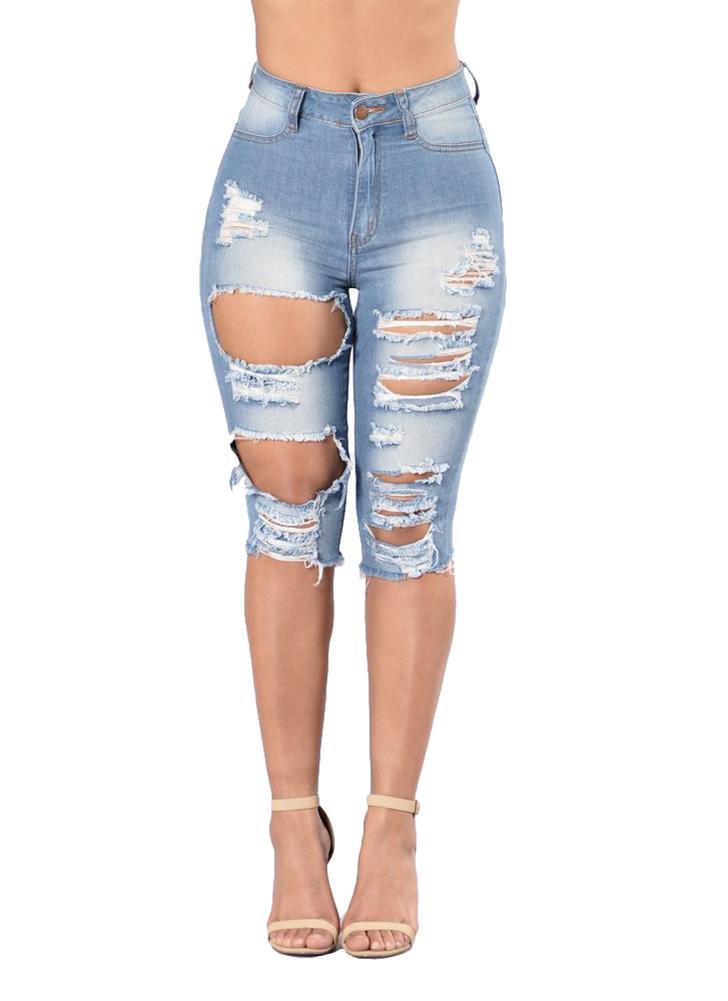 Las mujeres lavaron el dril de algodón rasgó la rodilla Cintura alta apenó los pantalones vaqueros